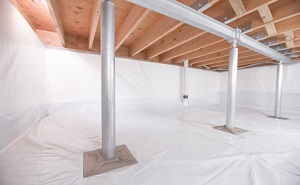 Crawl space structural support jacks installed in Ogdensburg