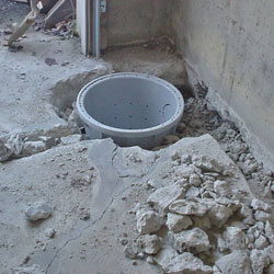 Placing a sump pit in a Arlington Heights home