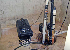 Pedestal sump pump system installed in a home in Bangor