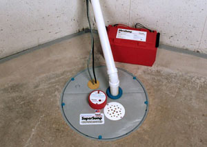 A sump pump system with a battery backup system installed in Heights Bridge