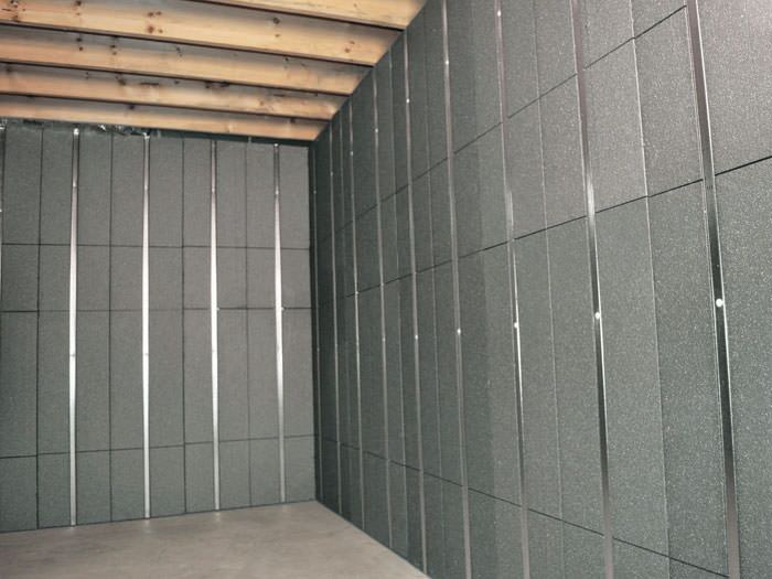 SilverGlo™ insulation and metal studs making up our Basement to Beautiful panels. Installed in & Basement To Beautiful Insulated Wall Panels | Inorganic Basement ...